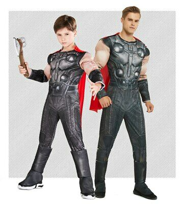 Adults Kids SuperHero Muscle Thor Family Matching Halloween Costume Jumpsuit
