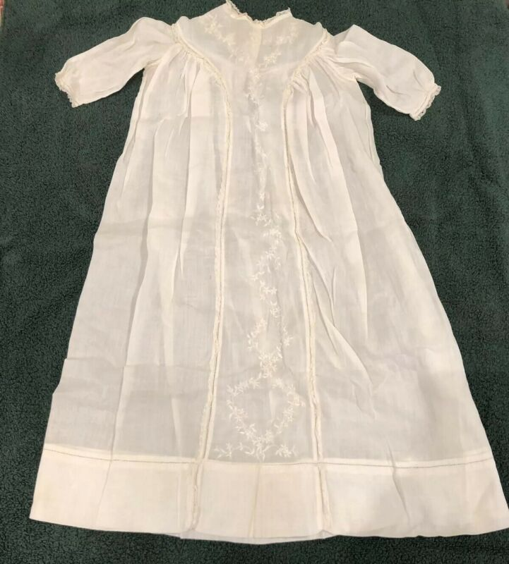 Antique Edwardian Linen Lace Baby Infant Christening Gown Baptism Dress Or Doll