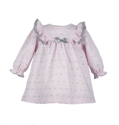 - *SALE* Gorgeous Baby Girl Spanish Pink Long Sleeve Dress Embroidered Dots
