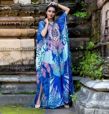 Experience the Splendor of rich Feathery Print Silk Kaftan with embroidered](Feathery Dresses)
