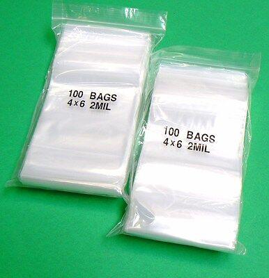 "4x6 Ziplock Bag Plastic Zip Lock Bags 2mil Clear 4"" X 6"" 200 Poly Bags"