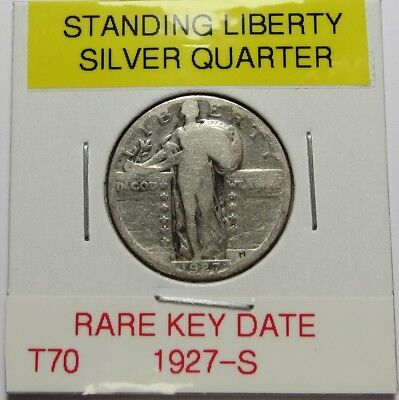 1927-S STANDING LIBERTY SILVER QUARTER ~ RARE KEY DATE ~ COMBINED SHIP LOT T70