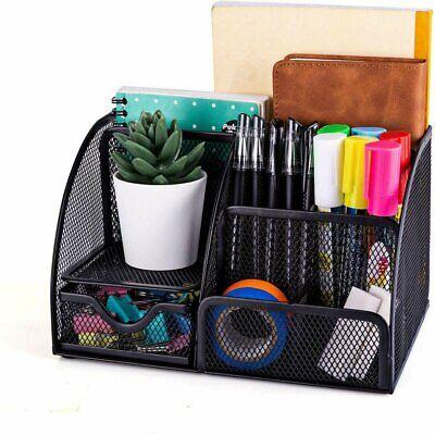 Mesh Office Supplies Desk Organizer 6 Compartments Plus Drawer Black