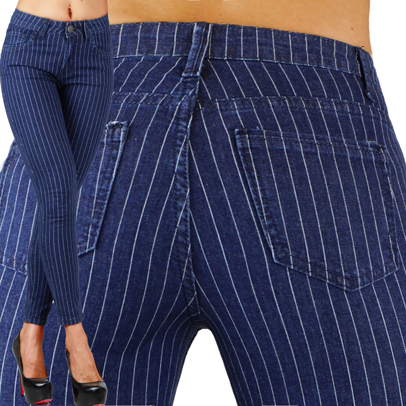 Sexy Stretchy Navy Blue Office  Jeans Trousers Skinny Slim W