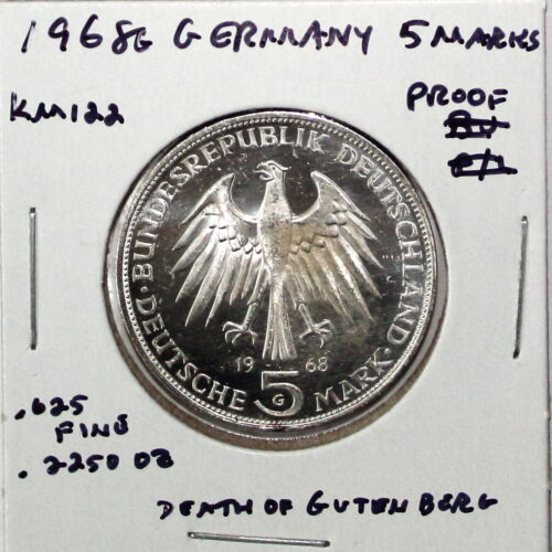 1968-G Germany 5 Marks Silver Coin Proof Details Gutenberg KM122