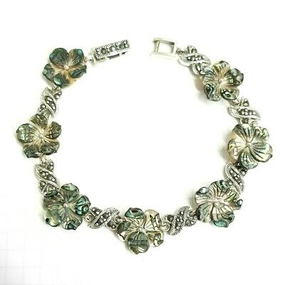 ABALONE SHELL FLOWERS BRACELET Marcasite .925 STERLING SILVER (7.25 inch L)