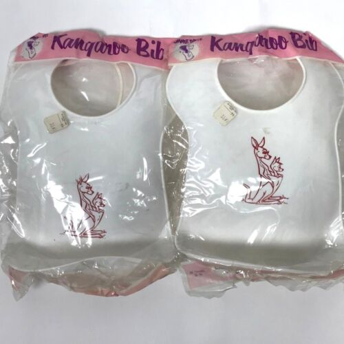 2 Vintage Tommee Tippee Plastic Kangaroo Bibs Bib Westland Plastics Made in USA