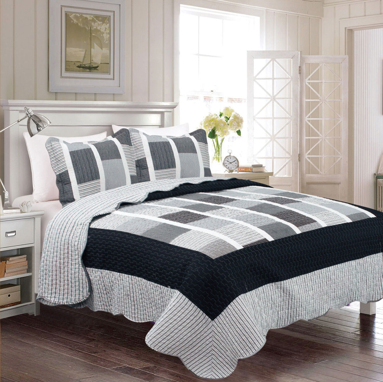 reversible bedspread black grey stripe squares all