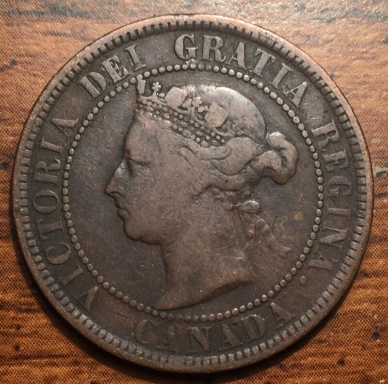 1884 Canada One Cent Queen Victoria Coin