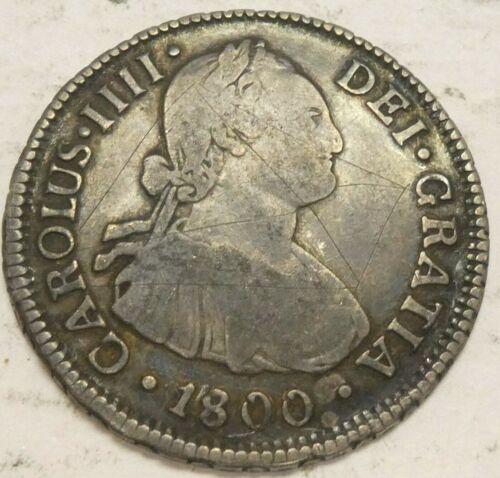 1800 AJ Chile 2 Reales Sntiago Mint .903 Fine Silver Coin