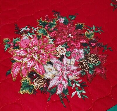 Vintage Christmas Tree Skirt Red Pink Poinsettia Appliques Gold Glitter Trim 56""