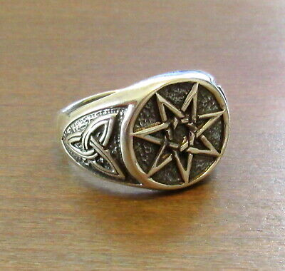 Handcrafted Solid 925 Sterling Silver Men's Fairy Elvin Star Septagram Ring  Sterling Silver Mens Star
