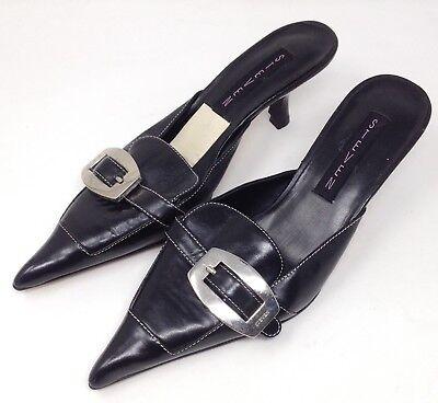 Steven Leather Heels (Steven Kitten Heels Womens Steve Madden Black Leather Ponty Toe Buckle Detail)