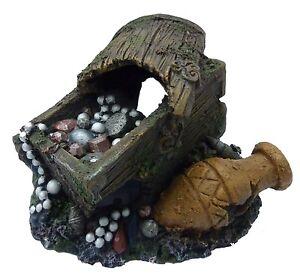 Large treasure chest with urn fish cave aquarium ornament for Fish tank treasure chest