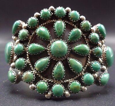 Signed Vintage NAVAJO Sterling Silver Blue/Green TURQUOISE Cluster Cuff BRACELET