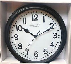 Sterling & Noble 8.78 in. Diameter Quartz Wall Clock Analog Display Black