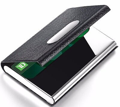 Mens Womens Personal Black Leather   Steel Business Credit Card Holder New