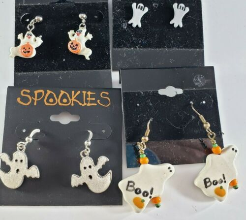 Vintage Halloween Pairs of Earrings Ceramic Metal Ghosts Jack O Lanterns Lot 🎃