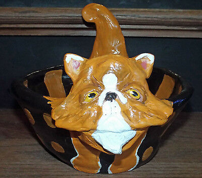 New Folk Art  Persian Cat Whimsical Trick Or Treat Bowl  Halloween Vintage STyle