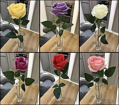 Best Artificial 45cm Single Rose Silk Flower Stem Wedding Home Arrangement New  ()