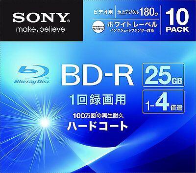 Sony Blu-Ray HD 25GB BD-R 4x BDR 10pack Blank Disc Inkjet Printable Media Japan