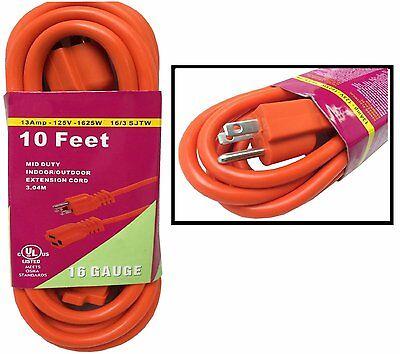 Heavy Duty 10ft Orange Extension Power Cord