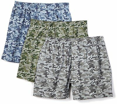 Fruit Of The Loom Mens 3 Pack Printed Boxers Camouflage Xxl