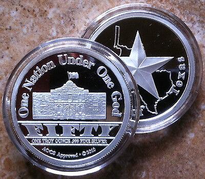2 X 1Oz  Coins  999 Fine Proof Silver Republic Of Texas Alamo Rounds Usa 2010