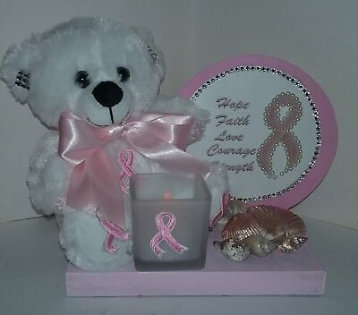 Wooden Display with LED Candle and6 Inch Pink Breast Cancer Awareness Teddy Bear ()