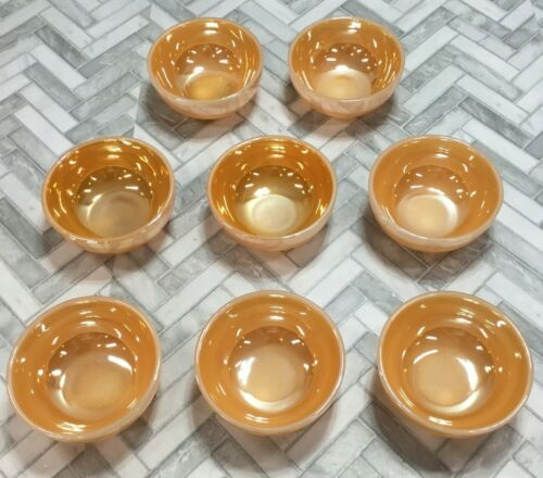 """Vintage Anchor Hocking Fire King Peach Luster Small 5"""" Dessert Bowls Lot of 8"""