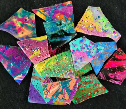 100 Metallic Multicolor DARK GLITZ Mosaic Art Glass by Makena Tile