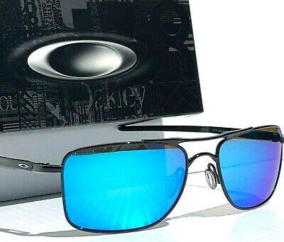 Oakley GAUGE 8 M 57mm Aviator Black w POLARIZED Galaxy BIue lens Sunglass 4124