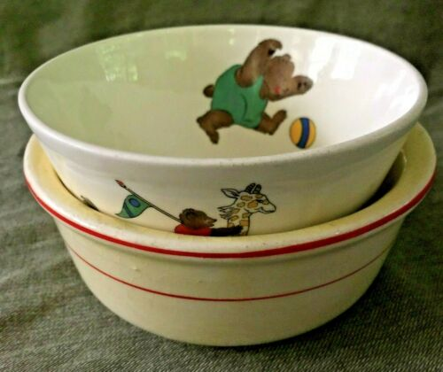 TWO Antique Childs Nursery BOWLS Circus Design Bear Clown Tricycle Dogs C.P. Co.