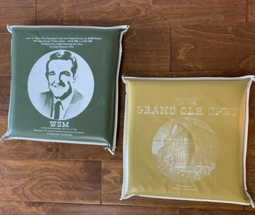 2 Vintage GRAND OLE OPRY Nashville TN WSM Souvenir Seat Cushions Country Music
