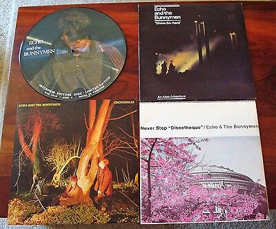 Echo and The Bunnymen. 4 NM Punk Rock LP lot. Pic Disc. Import