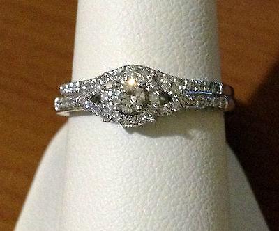 1/3ct Diamonds White Gold Round Halo Style Engagement Bridal Wedding Ring Set