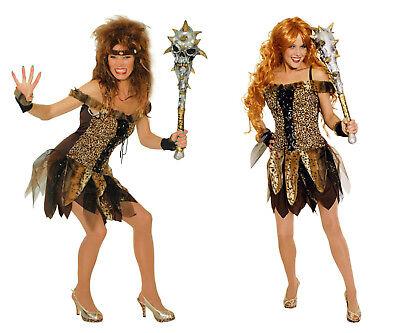 2tlg Damen Mädchen Kostüm Steinzeit Neandertaler Dschungel Katze Urwald Kleid  - Dschungel Kostüm Damen
