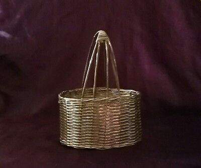 Vintage Silver Plate Mini Woven Wire Basket with Four Rope Handle