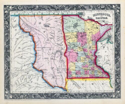 1860 ornate map MINNESOTA DAKOTA TERRITORY Augustus Mitchell, Jr. POSTER 0565025