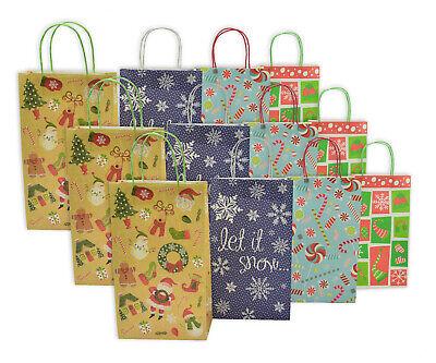 Christmas Medium Gift Bags White Kraft, 12 Pack ,Let it Snow Medium White Gift Bags