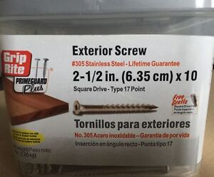 5 LBS Grip Rite 305 Stainless Steel Screws Square Drive 2 1/2 x10 Deck free ship