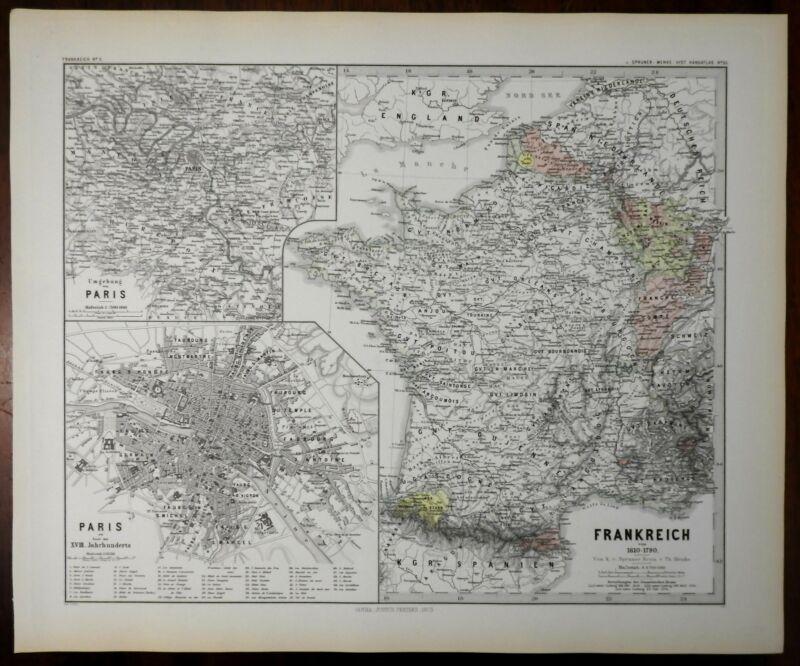 France Ancien Regime French duchies Paris city plan Spruner 1877 historical map