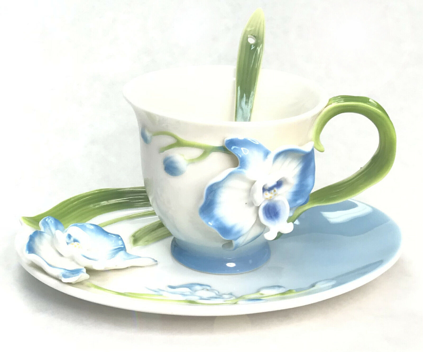 Floral Porcelain Coffee Tea Cup Gift Set, Saucer, Cup, Spoon