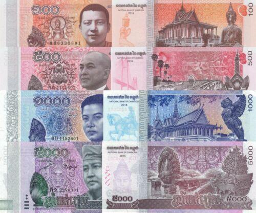 Cambodia 4 Note Set: 100 to 5000 Riels (2016/16) - p65, p66, p67 & p68 UNC