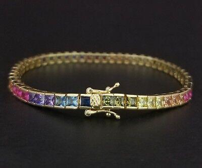 14k Yellow Gold Sterling Silver Square Blue Sapphire & Multi Gem Tennis Bracelet