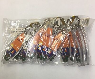 Plastic Keychains (12 Pieces  Miami Beach Souvenir Keychain Plastic Double Sided New, Great)