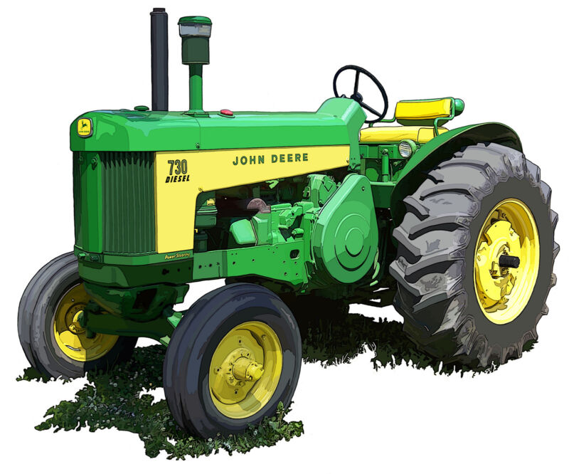 John Deere Model 730 Diesel canvas art print by Richard Browne farm tractor