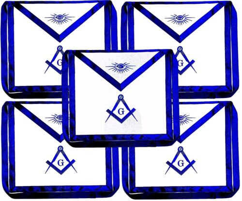 5 Blue Lodge Chain Collar Master Mason Apron with Square Compass