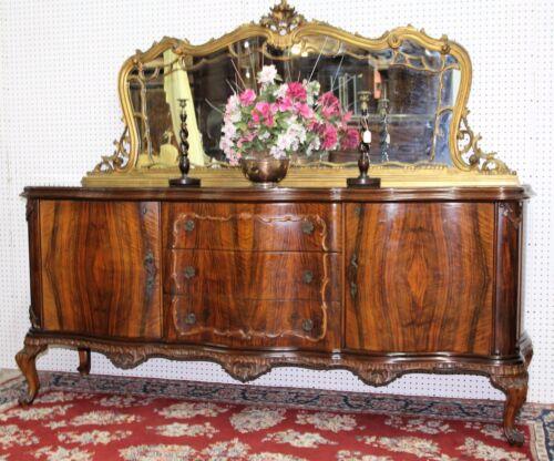 Antique Burl Walnut Carved French Buffet Sideboard Console w /Gilt Mirror C1890