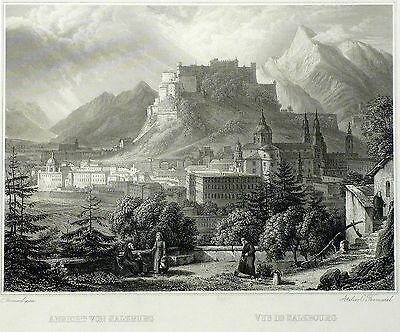 SALZBURG - Gesamtansicht - Frommel - Stahlstich 1842